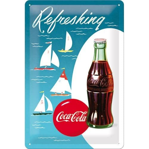 Nostalgic Art Tin Sign Coca-Cola - Bottle Hero Poster - Sailing Boats 20x30