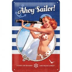 Nostalgic Art Tin Sign Pin Up - Ahoy Sailor 20x30