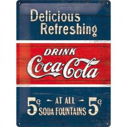 Nostalgic Art Tin Sign Coca-Cola Delicious Refreshing 30x40