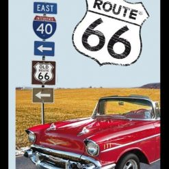 Bedrukte spiegel Route 66 Red Car
