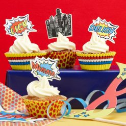 Ginger Ray Cupcake Toppers en Vormpjes Pop Art Superhero