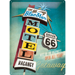 Nostalgic Art Tin Sign The Blue Star Motel Route 66 30x40