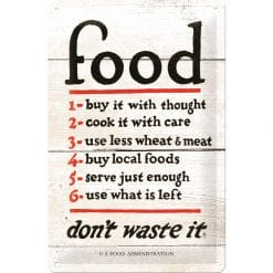 Nostalgic Art Tin Sign Food Dont Waste It 20x30 cm