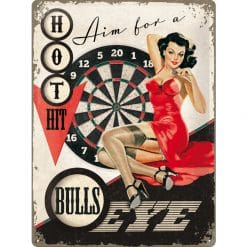 Nostalgic Art Tin Sign Aim for a Bulls Eye 30x40