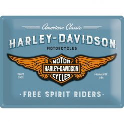 Nostalgic Art Tin Sign Harley Davidson Logo Blue 40x30 cm