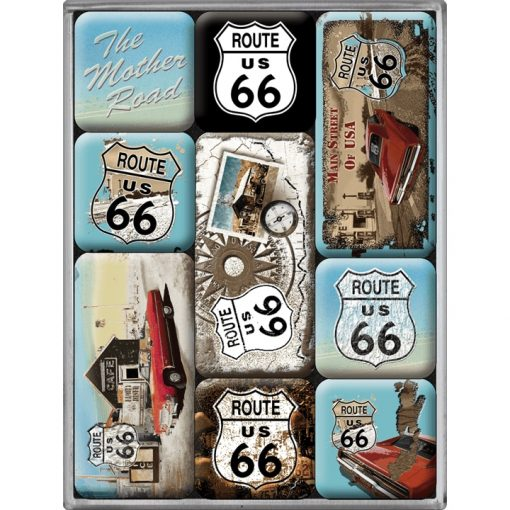 Nostalgic Art Magneetset Route 66 The Mother Road (9x)