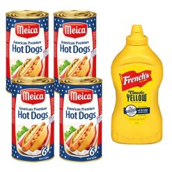 Hot Dog Pakket met 24 Meica Hot Dogs en 1 grote fles French's Mustard