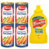 Amerikaans hot dog pakket met vier blikken Meica en een fles Amerikaanse French yellow mustard van 397 gram.