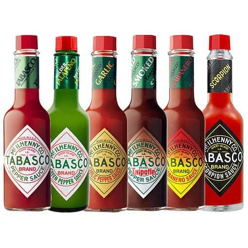 Tabasco pakket met 6 verschillende smaken.