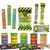 Toxic Waste snoep pakket met 12 verschillende producten.